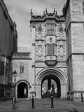 Grande loge du portier Abbey Gatehouse dans Bristol en noir et blanc image libre de droits