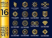 Grande Logo Template Vector Design reale ed elegante dell'insieme del lusso, Immagini Stock Libere da Diritti