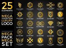 Grande Logo Template Vetora Design do grupo do luxo, o real e o elegante ilustração stock