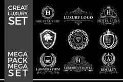 Grande Logo Template Vetora Design do grupo do luxo, o real e o elegante imagem de stock royalty free