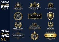 Grande logotipo luxuoso do grupo, o real e o elegante foto de stock