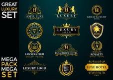 Grande logotipo luxuoso do grupo, o real e o elegante imagens de stock royalty free