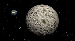 Grande luna con piccola terra dietro Immagine Stock