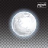Grande luna piena dettagliata realistica isolata su fondo trasparente Fotografia Stock Libera da Diritti