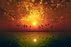Grande luna sopra il tramonto arancio Fotografie Stock Libere da Diritti