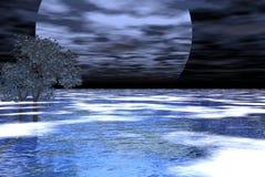 Grande lune de deux arbres Images libres de droits