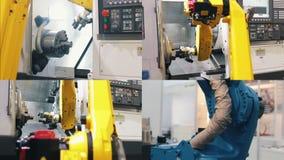 4 in 1 - grande macchina robot industriale gialla che fa il suo lavoro stock footage