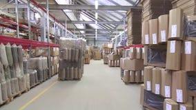 Grande magazzino commerciale con le scatole e gli scaffali stock footage