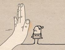 Grande main avec le personnage de dessin animé - arrêtez le signe faisant face à une femme illustration libre de droits