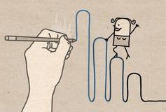 Grande main de dessin avec la femme de bande dessinée - montant illustration libre de droits