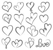 Grande main de jour de valentines d'ensemble écrite marquant avec des lettres le coeur pour aimer au desi illustration de vecteur