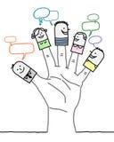 Grande main et personnages de dessin animé - réseau social Photographie stock libre de droits