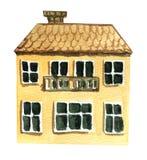 Grande maison de deux étages avec un balcon Illustration d'aquarelle illustration stock