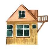 Grande maison de village avec un balcon Illustration d'aquarelle pour la conception illustration stock