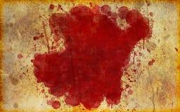 Grande, mancha de sangue vermelha no papel velho, envelhecido ilustração stock