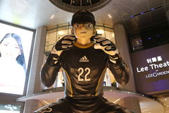 Grande Manga Soccer Player Statue immagini stock