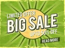 Grande manifesto di vendita, insegna o progettazione dell'aletta di filatoio Fotografia Stock
