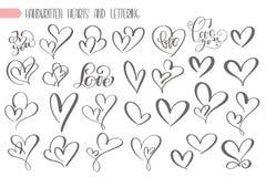 Grande mano di giorno di biglietti di S. Valentino dell'insieme scritta segnando amore con lettere del cuore al manifesto di prog illustrazione di stock