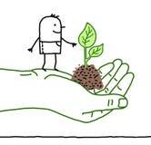 Grande mano verde con personaggio dei cartoni animati - protezione Fotografia Stock Libera da Diritti