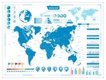 Grande mappa di mondo ed elementi infograpchic Fotografie Stock Libere da Diritti