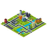 Grande mappa isometrica della città Fotografie Stock