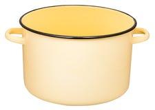 Grande marmite à bouillon jaune classique d'émail d'isolement Photographie stock