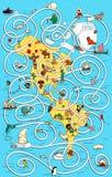 Grande Maze Game dell'America di viaggio Trovi la via di casa giusta per il pola Fotografia Stock