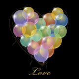 Grande mazzo di palloni del partito. Forma del cuore. Fotografia Stock