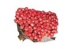 Grande mazzo sopra di cento rose rosse bianco-striate isolate su fondo bianco La struttura orizzontale Immagini Stock