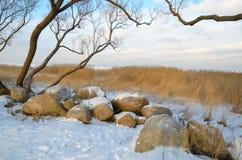 Grande mentira dos pedregulhos na costa do golfo Foto de Stock