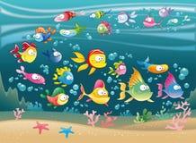 grande mer de poissons de famille Images libres de droits