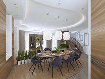 A grande mesa de jantar na área da cozinha Foto de Stock