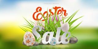 Grande modello del fondo dell'insegna di vendita di Pasqua con l'offerta enorme di sconto, l'erba verde, le pietre e le uova illustrazione vettoriale