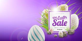 Grande modello del fondo dell'insegna di vendita di Pasqua con l'offerta enorme di sconto, l'erba verde, le pietre e le uova illustrazione di stock