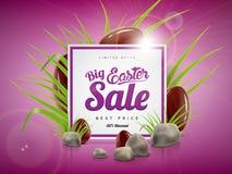 Grande modello del fondo dell'insegna di vendita di Pasqua con l'offerta enorme di sconto, l'erba verde, le pietre e le uova di c Immagine Stock