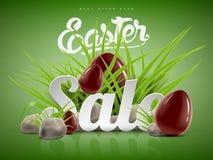 Grande modello del fondo dell'insegna di vendita di Pasqua con l'offerta enorme di sconto, l'erba verde, le pietre e le uova di c Fotografie Stock Libere da Diritti