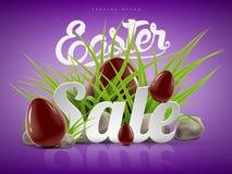 Grande modello del fondo dell'insegna di vendita di Pasqua con l'offerta enorme di sconto, l'erba verde, le pietre e le uova di c Fotografia Stock
