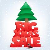 Grande modello dell'insegna di vendita di natale con l'albero di Natale Fotografia Stock