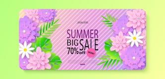 Grande modello dell'insegna di vendita di estate con i bei fiori e le foglie tropicali Illustrazione di vettore Fotografia Stock