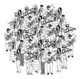 Grande monocromio dell'orchestra della banda dei musicisti del gruppo Fotografie Stock