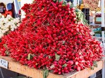 Grande monticello dei ravanelli da vendere Fotografie Stock