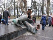 Grande monumento gettato a Lenin in Cernihiv nel 2014 Fotografia Stock Libera da Diritti