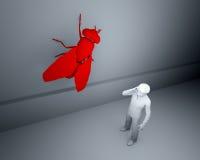 Grande mouche rouge sur le mur Illustration de Vecteur