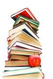 Grande mucchio dei libri isolati su bianco Fotografia Stock
