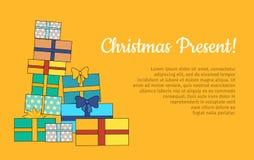 Grande mucchio dell'insegna avvolta variopinta di web dei contenitori di regalo Immagini Stock
