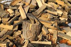 Grande mucchio di legna da ardere per l'inverno Fotografia Stock
