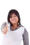 Grande mulher latin feliz, com polegar acima Fotos de Stock Royalty Free