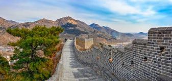 Grande muraglia ad una sezione di nove portoni di acqua della grande muraglia Fotografia Stock