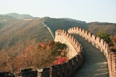 Grande muraglia al tramonto in autunno Fotografia Stock Libera da Diritti