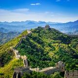 Grande muraglia della Cina nel giorno di estate, sezione di Jinshanling, Pechino Fotografia Stock Libera da Diritti